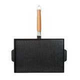GRILL & GRIDDLE DOUBLE SIDED NON-STICK CAST ALUMINUM WITH DETACHABLE HANDLE,  10x15""