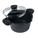 5QT. STOCK N' PASTA POT WITH EASY POUR STRAINER GLASS LID, 9""