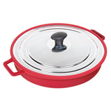 "Stovetop Oven Grill Pan with Patented Heat-in Steam-out Lid, 12"" RED"