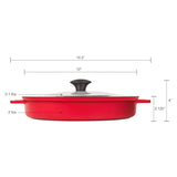 "STOVETOP OVEN GRILL PAN WITH HEAT-IN STEAM-OUT LID, NON-STICK CAST ALUMINUM, 12"", RED"