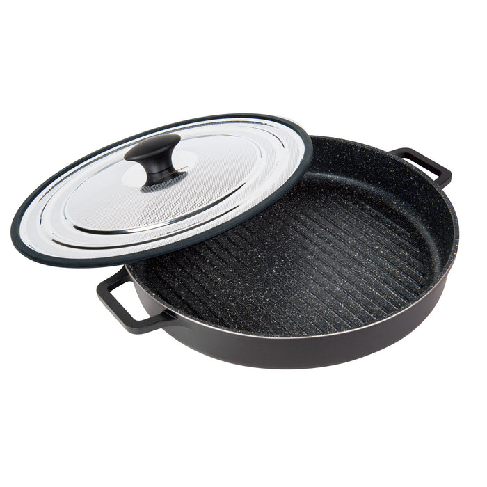 "Stovetop Oven Grill Pan with Patented Heat-in Steam-out Lid, 12"" BLACK"