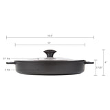 "STOVETOP OVEN GRILL PAN WITH HEAT-IN STEAM-OUT LID, NON-STICK CAST ALUMINUM, 12"", BLACK"