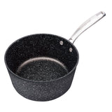 SAUCE PAN WITH GLASS LID NON-STICK CAST ALUMINUM GRANITE LOOK FINISH, 7""