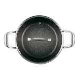 5 QT. STOCK POT WITH GLASS LID NON-STICK CAST ALUMINUM GRANITE LOOK FINISH, 9.5""