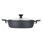 5 QT. SAUTE & SAUCE PAN WITH GLASS LID NON-STICK CAST ALUMINUM STRIPE DESIGN, 11""