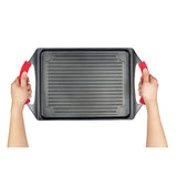"GRILL PLATE, NON-STICK CAST ALUMINUM, 10"" x 13"", WITH SILICONE HANDLE GRIPS"