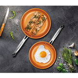 "FRY PAN 2-PACK BUNDLE SET, COPPER COLOR CERAMIC NON-STICK COATING, 8""+9"""
