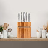5-PC KNIFE SET WITH BAMBOO BLOCK STAND