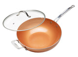 CHEF'S WOK & GLASS LID, COPPER TONE CERAMIC NON-STICK COATING, 12""
