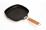 GRILL PAN NON-STICK CAST ALUMINUM WITH FOLDING HANDLE, 8""