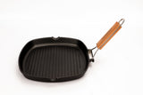 GRILL PAN NON-STICK CAST ALUMINUM WITH FOLDING HANDLE, 11""