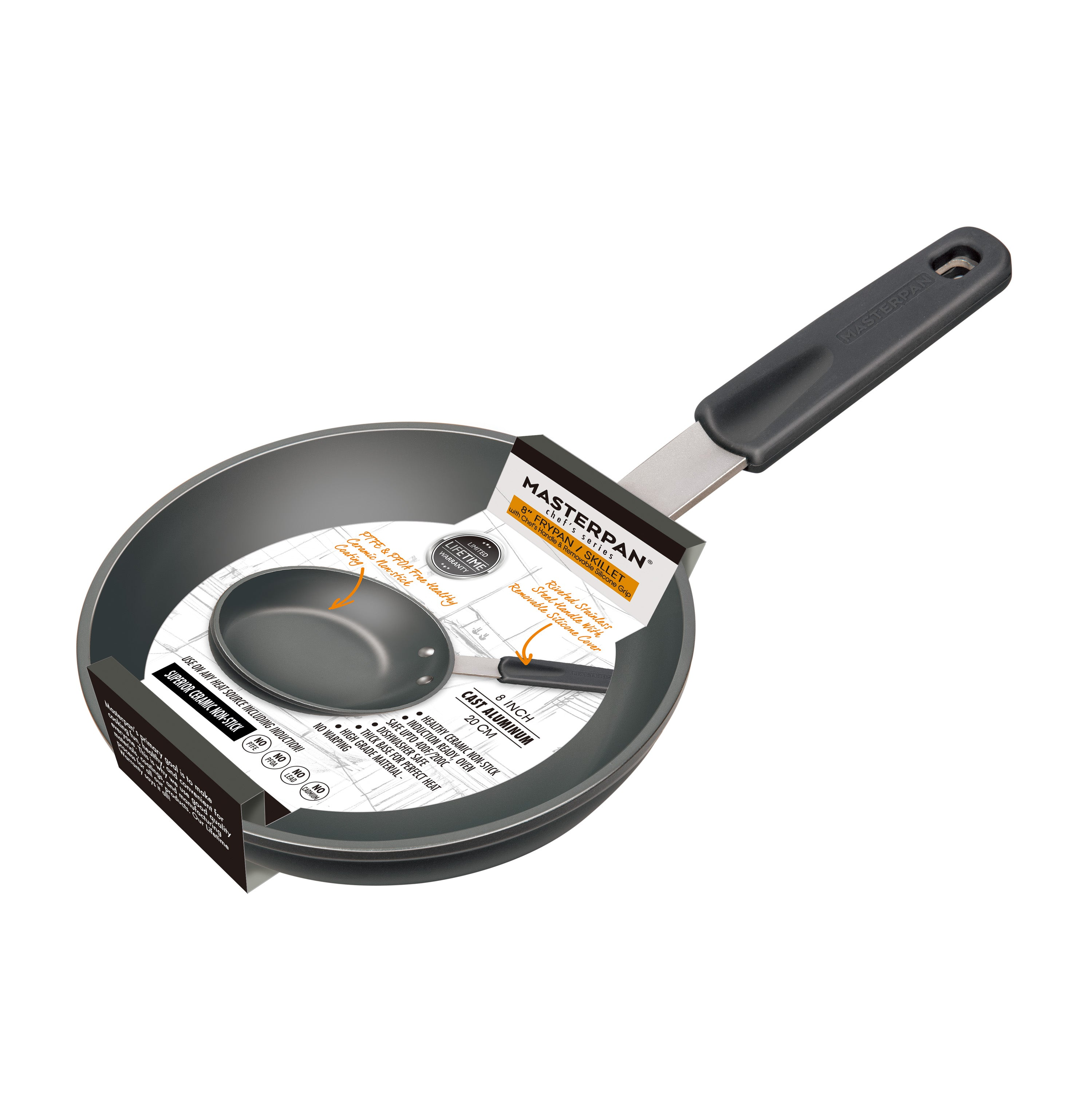 "FRY PAN & SKILLET, HEALTHY CERAMIC NON-STICK ALUMINIUM COOKWARE WITH STAINLESS STEEL CHEF'S HANDLE, 8"" (20cm)"