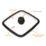 "TEMPERED GLASS LID WITH EASY GRIP HANDLE, FITS OUR 11x11"" GRILL, 2-SECTION & 3-SECTION PANS ONLY"