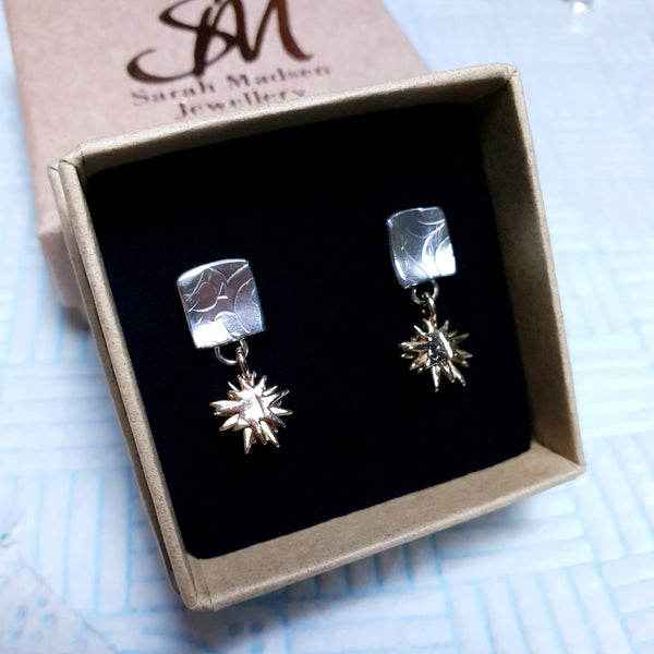 9ct Yellow Gold Star Drops and Sterling Silver Earrings.
