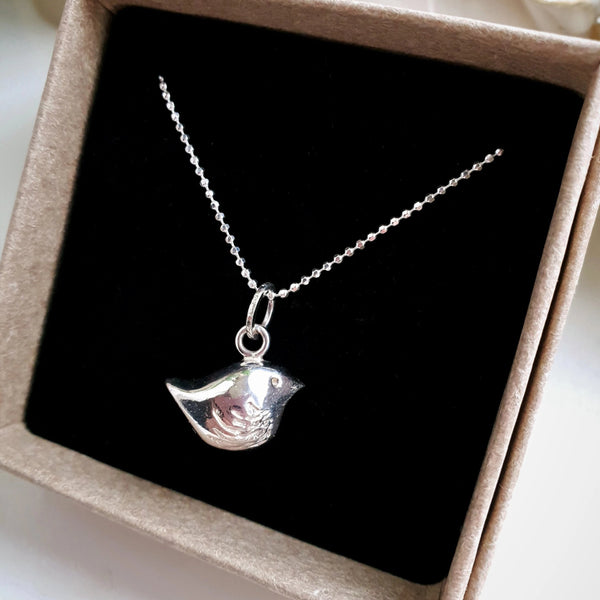 Handmade Sterling Silver Bird Charm Necklace.