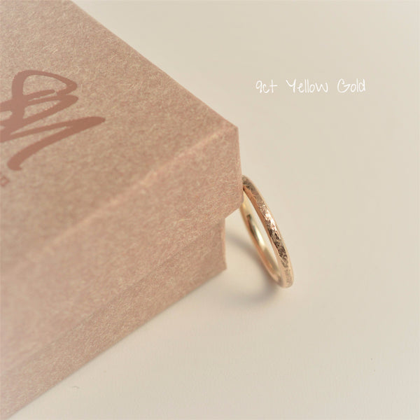 9ct Yellow hammered textured, classic Gold Ring