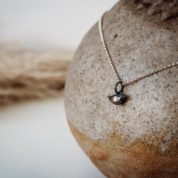 "Gold Plated and Oxidised Tiny Little"" Silver Bird Charm Necklace."
