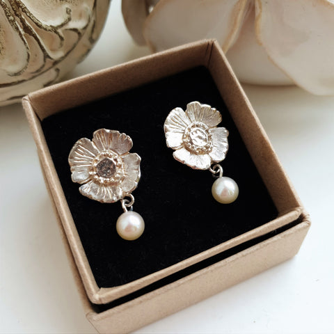 Poppy Earrings with Freshwater Pearl Drops