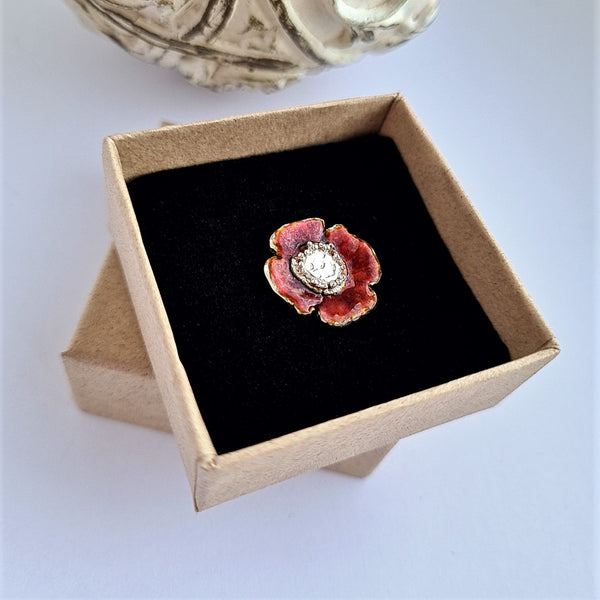 Enamelled Poppy Pin Brooches