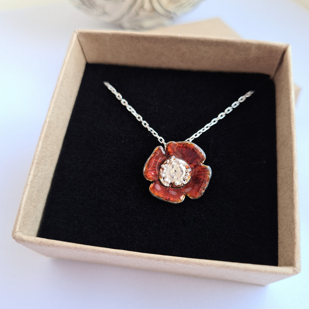 Enamelled Poppy Necklace