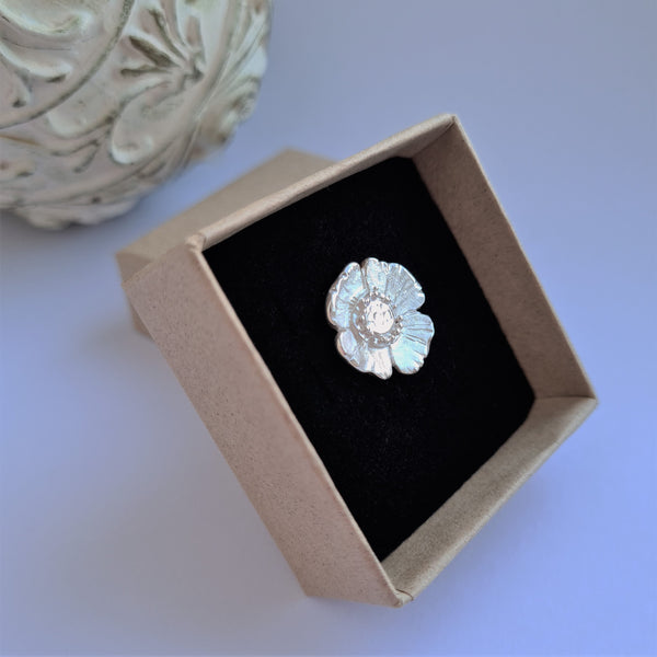 Poppy Pin Brooches in Sterling Silver