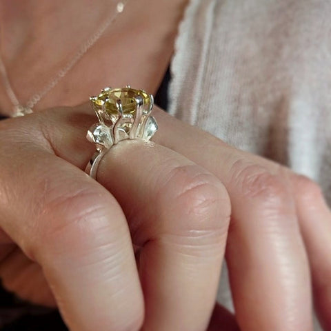 "Lemon Quartz ""Fleur-de-lis"" Cocktail Ring"