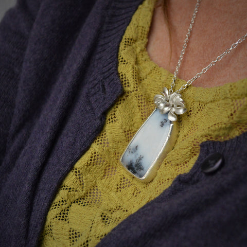 "Dendritic Opal ""Petals"" Sterling Silver Pendant/ Necklace"