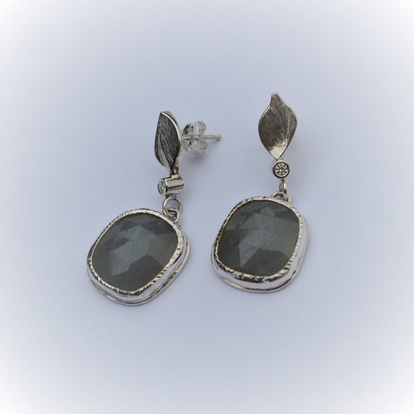 Grey Rose cut Sapphires with Diamonds in Sterling Silver