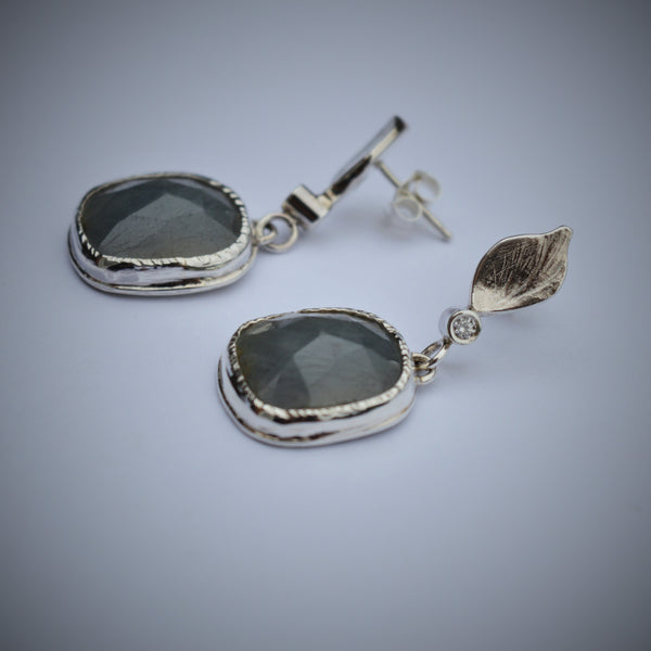 Sterling Silver, Grey Rose Cut Sapphire Drop Earrings with Diamonds.