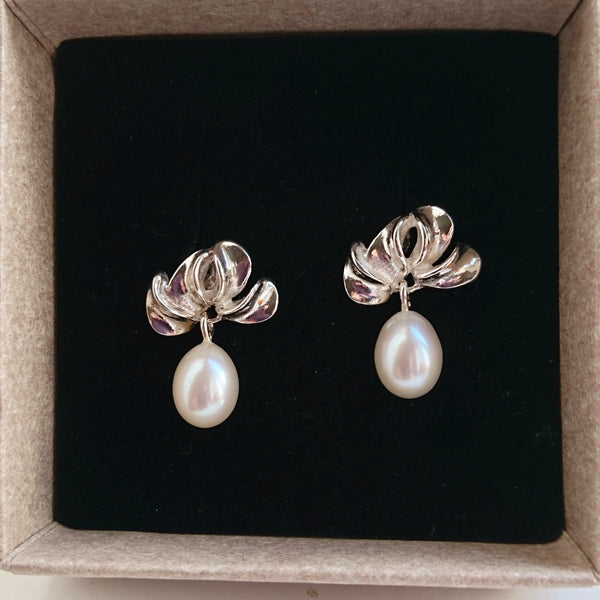 "Sterling Silver""Petal"" Earrings with Freshwater Pearl Drops"