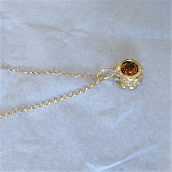 Sterling Silver, Gold Plated Citrine Classics Pendant Necklace.