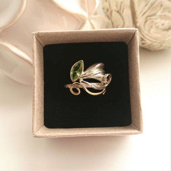 18ct Gold and Silver Marquise Peridot Ring