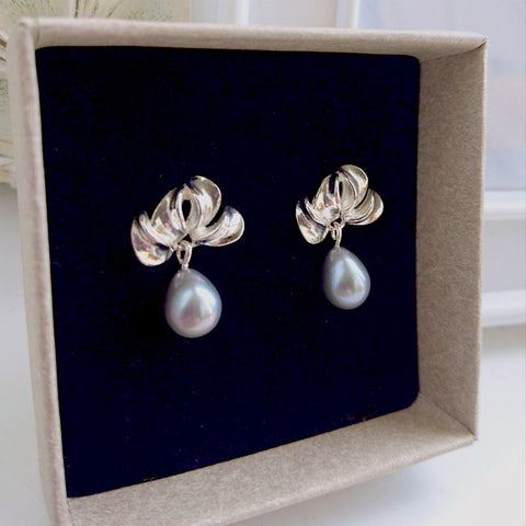 "Sterling Silver ""Petal"" Earrings with Freshwater Pearl Drops"