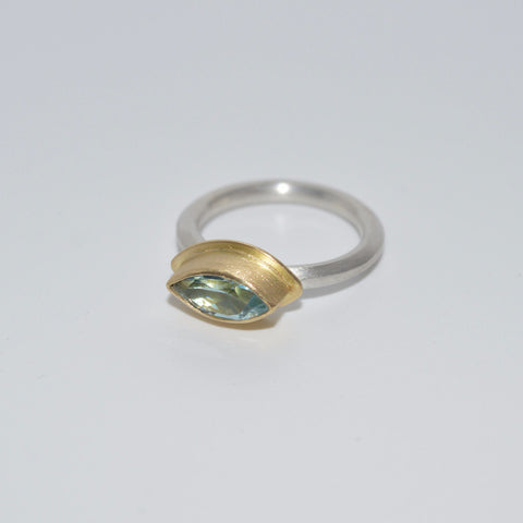 18ct Gold and Sterling Silver Ring with Marquise Topaz