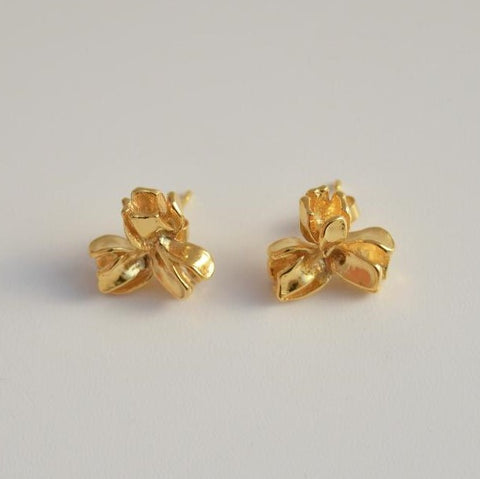 "Triple ""Buds"" Gold-plated or Silver Earrings"