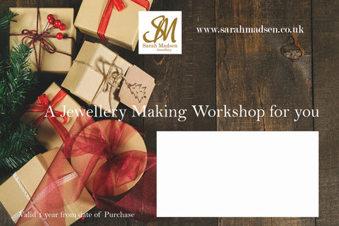 Sarah Madsen Christmas Gift Card for Jewellery Making Course/Workshop