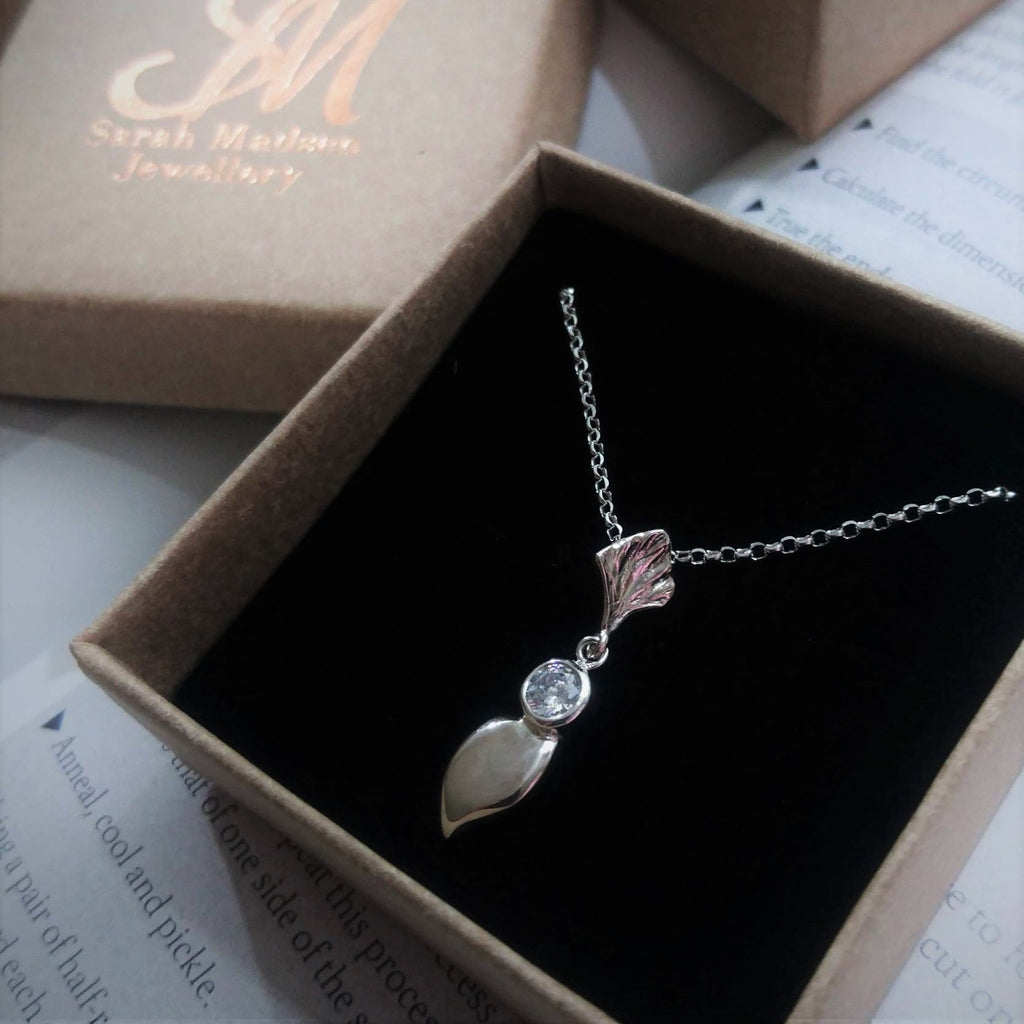 Sterling Silver Leaf Classic Drop Necklace with Cubic Zirconia.