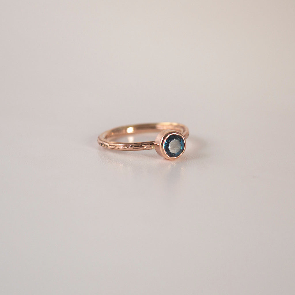 Classic twist textured Ring with London Blue Topaz.