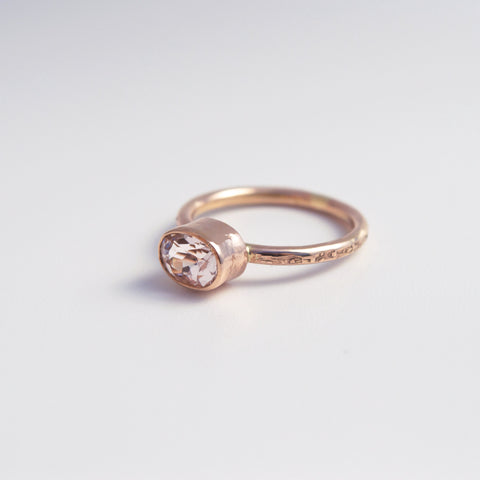 "Morganite and Rose ""Classic"" Gold Ring"