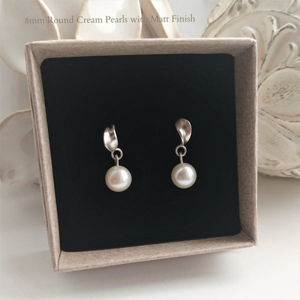 Petal Stud Earrings with Round Pearl Drops