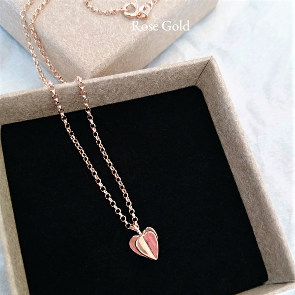Sweet Hearts Sterling Silver Rose or Yellow Gold plated Necklace