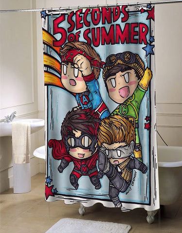 5 Second Of Summer shower curtain customized design for home decor