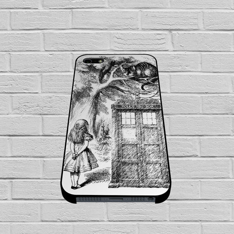 Alice In Wonderland and Cat on Doctor Who Box case of iPhone case,Samsung Galaxy