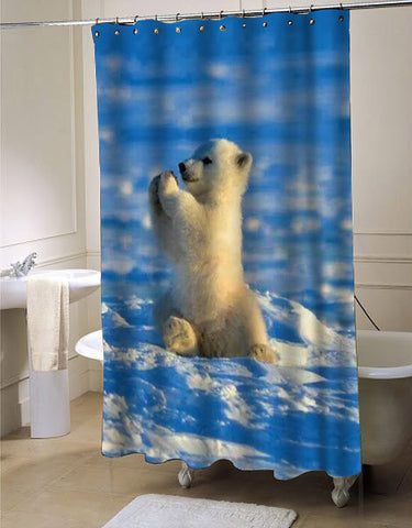 Baby polar bear shower curtain customized design for home decor