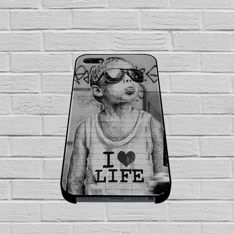 Banksy I Love Life case of iPhone case,Samsung Galaxy