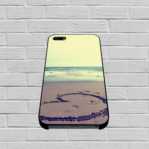 Beach Sand Heart Drawing case of iPhone case,Samsung Galaxy