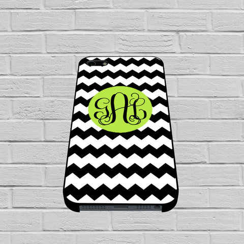 Black Lime Green and White Bold Chevron Monogram case of iPhone case,Samsung Galaxy