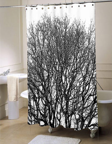 Black and white tree shower curtain customized design for home decor