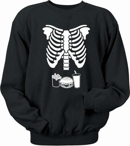 Burger Fries & Drink Skeleton Rib Cage sweatshirt