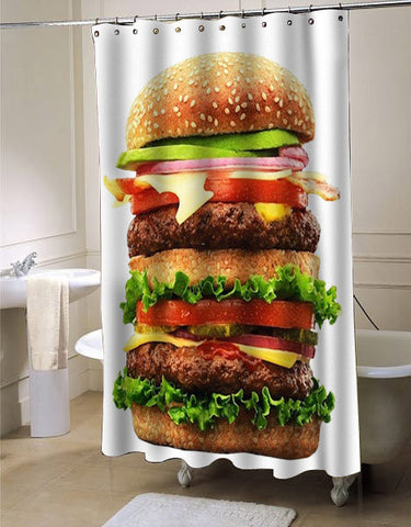 Burger food shower curtain customized design for home decor